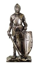 "Crusader Knight Statue Silver Finishing Cold Cast Resin Statue 7"" (8718) - $20.99"