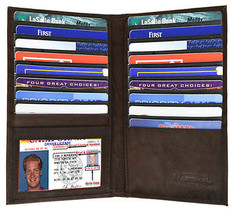 Leather 19 Card Credit ID Window Checkbook Holder tall Hipster Wallet new - $12.40
