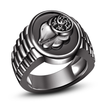 14k Black Gold Plated Black Diamond .925 Sterling Silver Black Aries Zodiac Ring - $97.05