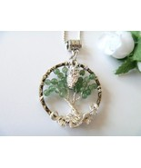 Green Jade Wire Wrapped Tree of Life Pendant Necklace with Owl Charm Fre... - $19.99
