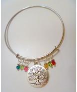 Custom Mother Grandmother Tree of Life Adjustable Bangle Bracelet w Birt... - $14.99
