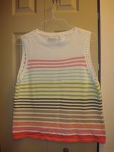Liz Claiborne White Sleeveless Multi-Colored Striped Sweater Size XL - $13.79