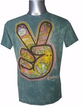 Men T Shirt Cotton Short Sleeve Retro Rock Hippie Earth Sun Om Peace L No Time - $22.76