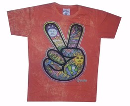 Men T Shirt Cotton Short Sleeve Retro Rock Hippie Earth Sun Om Peace L No Time - $13.85