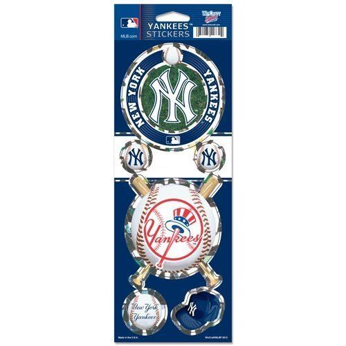 NEW YORK YANKEES PRISMATIC HOLOGRAPH STICKER DECAL LABEL SHEET OF 5 MLB BASEBALL
