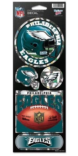PHILADELPHIA EAGLES PRISMATIC HOLOGRAPH STICKER DECAL SHEET OF 5 NFL FOOTBALL