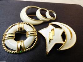 Lot of 3 vtg RNK  goldtone Enamel nautical star  pin brooch - $34.65