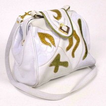 Vintage 90s White Gold Faux Lizard Skin Leather Purse Hand Shoulder Bag ... - $19.79