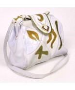 Vintage 90s White Gold Faux Lizard Skin Leather Purse Hand Shoulder Bag ... - $19.79