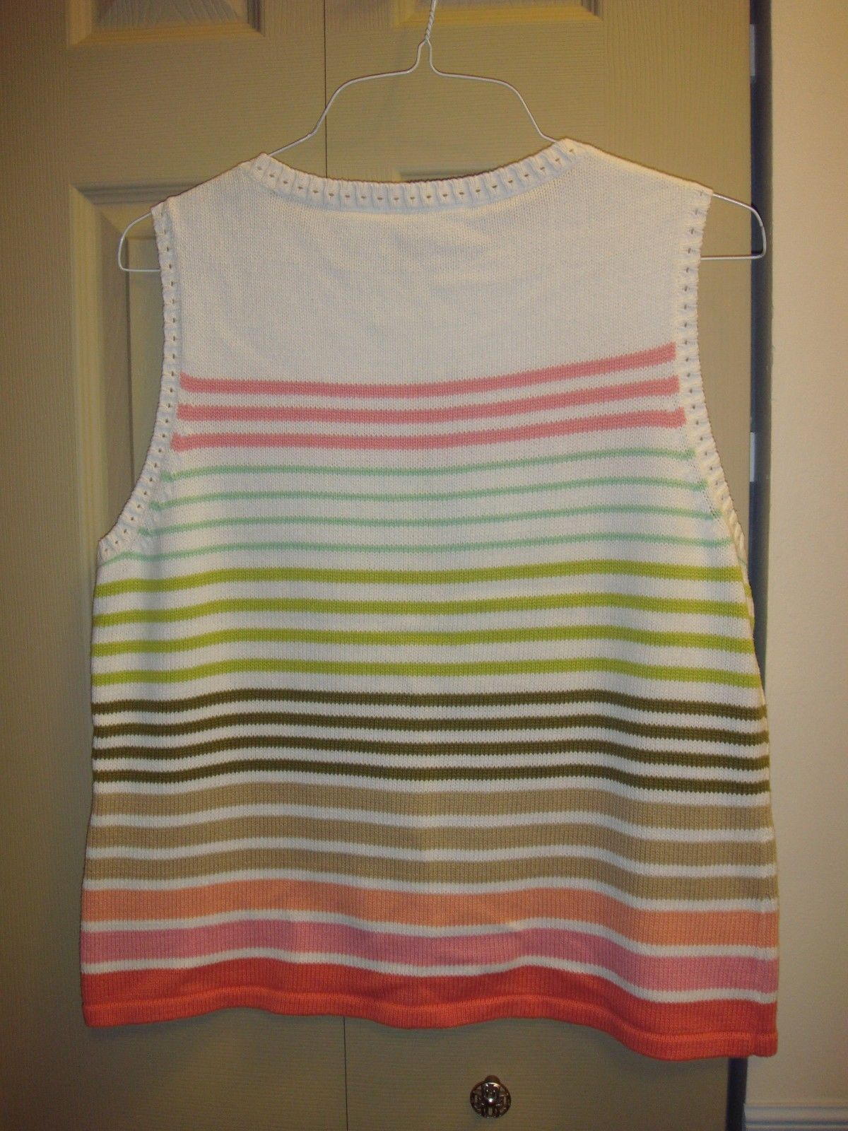Liz Claiborne White Sleeveless Multi-Colored Striped Sweater Size XL