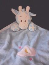 Blue Giraffe Baby Lovey Satin Blanky Moon Cloud Stars - $24.45