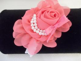 Newborn  Baby Girl White Headband With Dark Peach Chiffon Flower Bow - $7.50