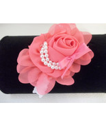 NEWBORN  BABY GIRL WHITE HEADBAND WITH DARK PEACH CHIFFON FLOWER BOW - $7.50