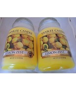 2 x 22 oz TWO NEW FIRST QUALITY LEMON ZEST YANKEE CANDLES FREE GIFT FREE SHIP - $48.46