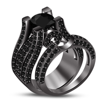 Round Cut Diamond 14k Black Rhodium Plated Pure 925 Silver Engagement Ring Set - $85.13