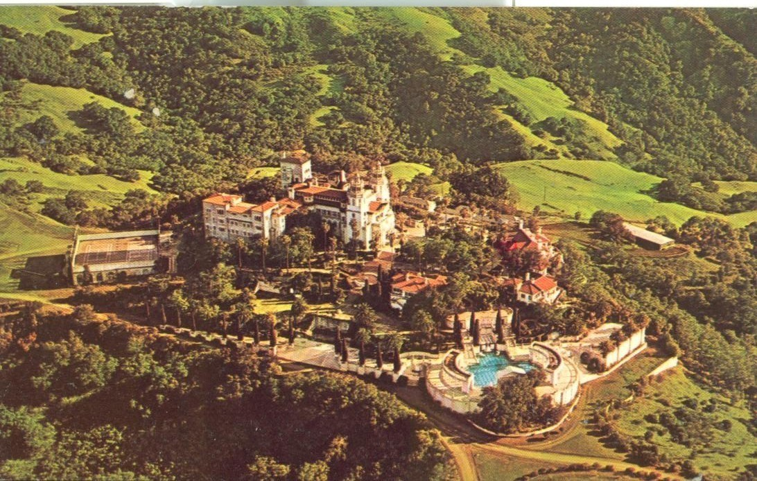 Aerial View of Hearst Castle and Grounds, San Simeon, California, used postcard
