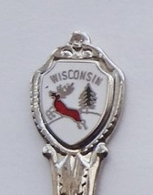 Collector Souvenir Spoon USA Wisconsin Deer Stag Buck Evergreen Map Bowl - $2.99