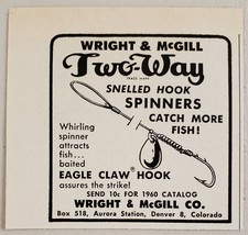 1960 Print Ad Wright & McGill Two-Way Eagle Claw Hook Fishing Spinners Denver,CO - $8.00