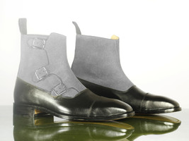 Bespoke  Black & Gray Cap Toe Leather Suede Triple Buckle Long Boots For Men's - $159.97 - $179.97