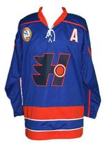 Any Name Number Halifax Highlanders Retro Hockey Jersey Blue Glatt #69 Any Size image 4