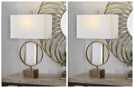 "TWO LUCIANA URBAN MODERN 32"" AGED BRUSHED BRASS METAL TABLE LAMPS MIRROR... - $655.60"