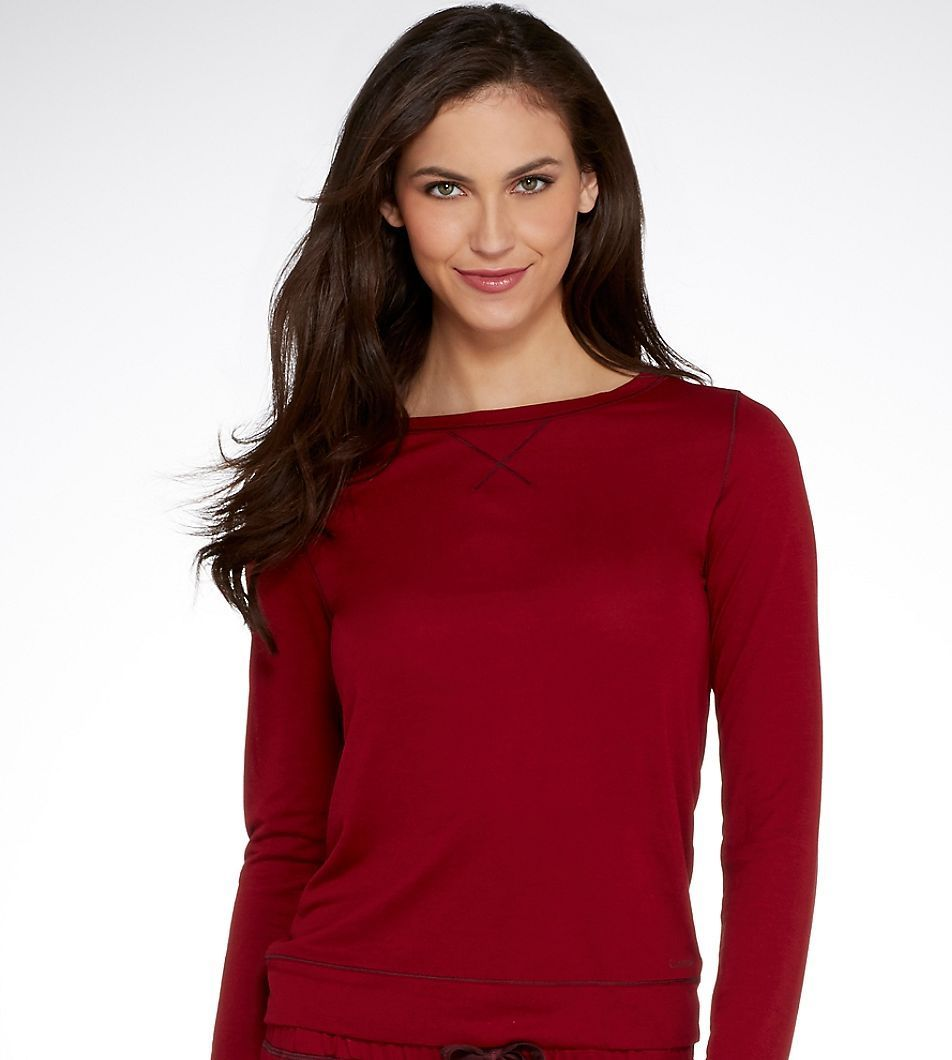 Calvin Klein Liquid Lounge Long-sleeve Knit in Red (Cranberry) size M (NWT $50)