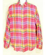 Ralph Lauren shirt men XL madras plaid red yellow green long sleeve 100%... - $49.49