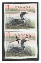 2004 $1 LOON STAMPS - ONE CANCELLED & ONE MINT - $10.95