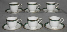 Set (6) Lenox KELLY PATTERN Cups/Saucers GOLD TRIM Made in USA - $128.69