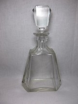 Thick Glass Decanter optic panel geometric Cut Pressed clear liquor vtg - $29.94