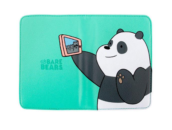 We Bare Bears Passport Holder Panda Green Travel Blocking Case Cover ID Holder
