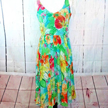 Muse Womens Size 6 Green Red Blue 100% Silk Floral Shift Fit Flare Flowy... - $18.48