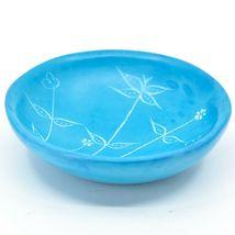 Tabaka Chigware Handmade Soapstone Light Blue Spring Flower Trinket Bowl Kenya image 3
