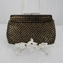 Vintage Whiting & Davis Clutch - Made in USA - Black and Gold - Mid Cent... - $24.99