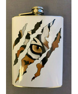 Tiger Claw Print Flask 8oz Stainless Steel Hip Drinking - $12.82