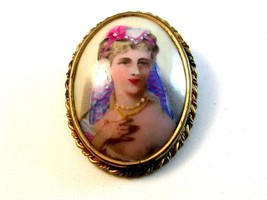 Vintage Hand Painted Portrait of a Lady Brooch Marked Limoge France - $84.99