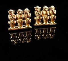 Monkey Cufflinks / See Speak Hear NO EVIL / Vintage gold shields cufflinks / nov - $145.00