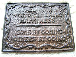 Cast Iron VISITORS sign plaque bz - $14.98