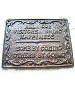 Cast Iron VISITORS sign plaque bz - $14.98