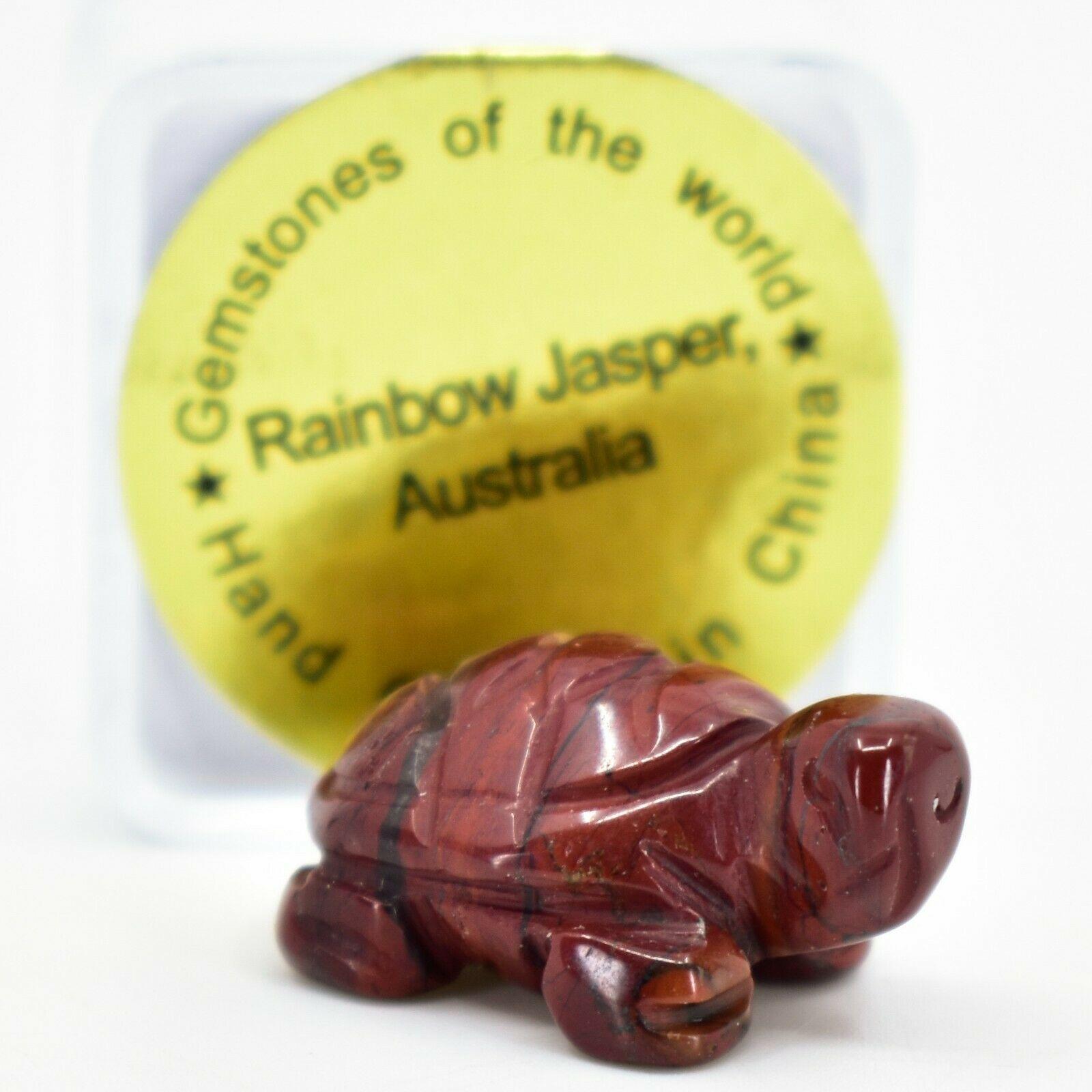 Rainbow Jasper Gemstone Tiny Miniature Turtle Hand Carved Stone Figurine
