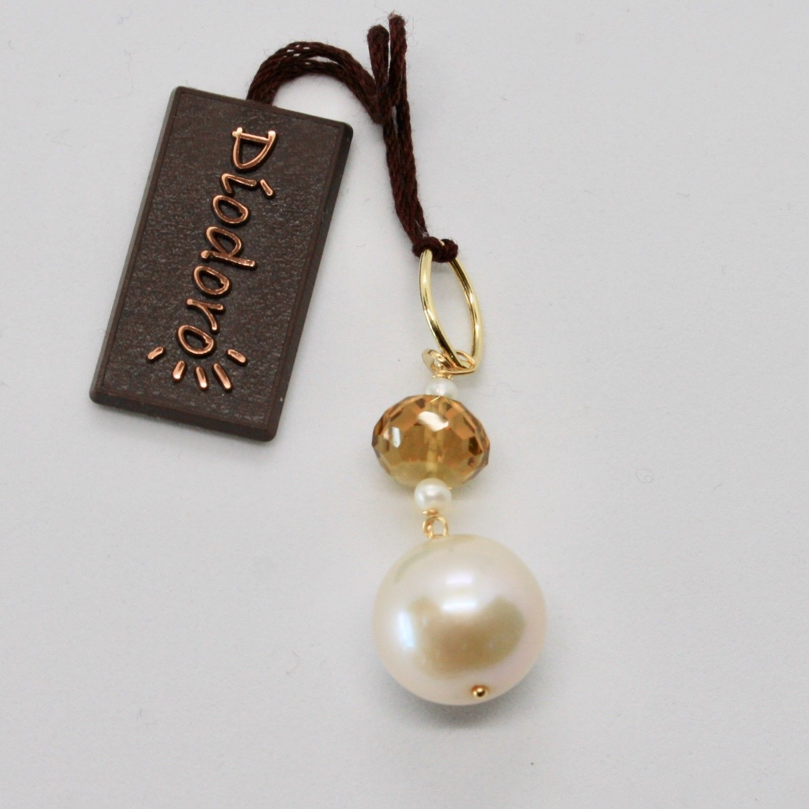 SOLID 18K YELLOW GOLD PENDANT WITH WHITE FW PEARL AND BEER QUARTZ MADE IN ITALY