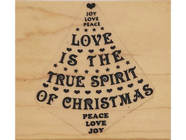 Christmas Tree Sentiments Wood Mounted Rubber Stamp
