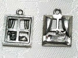 CAT IN WINDOW FINE PEWTER PENDANT CHARM  ANTIQUE SILVER FINISH   -  CS202AS