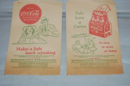 2 Vintage 1930's COKE Coca-Cola Paper No-Drip BOTTLE PROTECTORS Bagged &... - $14.54