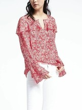 Banana Republic Easy Care Multi Flounce Shirt Top Red Polyester Size M Pre-owned - $37.99