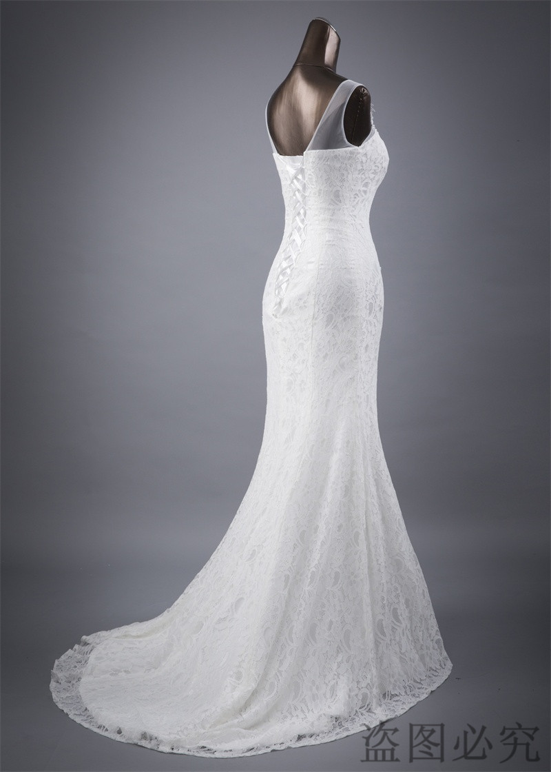Lace floral mermaid Wedding Dress at Bling Brides Bouquet Online Bridal Store image 4