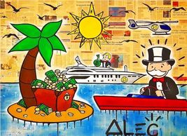 "Alec Monopoly Amazing HD print on Canvas Abstract Urban art Island 28x36"" inch - $33.48"