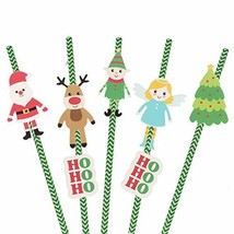 36 Pack of Merry Christmas Paper Straw Green & White Striped Baby Shower... - $11.36