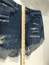 Lee Jeans Distressed Blue Jean Short Shorts Booty Size 8 Long image 9
