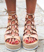 "Greek leather Flatform sandals ""Arizona"" natural - $89.00"